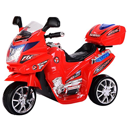 Shalleen (Red) 3 Wheel Kids Ride On Motorcycle 6V Battery Powered Electric Toy Power Bicyle (Power Wheels Ages 8 Up)