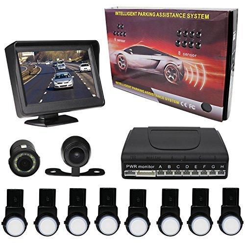 KIPTOP Universal Waterproof Night Vision Backup Camera and Video Monitor Kit,4.3 TFT LCD Rear View Monitor with 8 Alert...