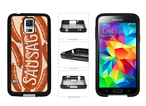Funny Hot Dog Sausage TPU Rubber SILICONE Phone Case Back Cover For Samsung Galaxy S5 I9600 comes with Security Tag and MyPhone Designs(TM) Cleaning Cloth