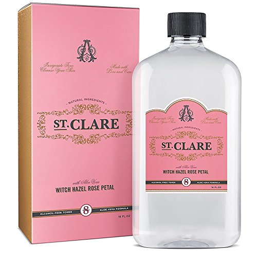 St Clare Alcohol-Free Witch Hazel 16oz – Rose Petal & Aloe Vera Natural Toner for Face & Skin