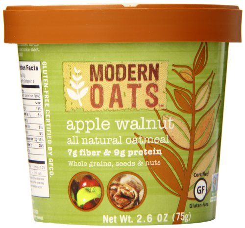 Modern Oats Apple Walnut Oatmeal 2.6 Ounce (Pack of 12), Gluten Free, Non-GMO, Whole Grain, Vegan, and Kosher, Contains Tree Nuts -