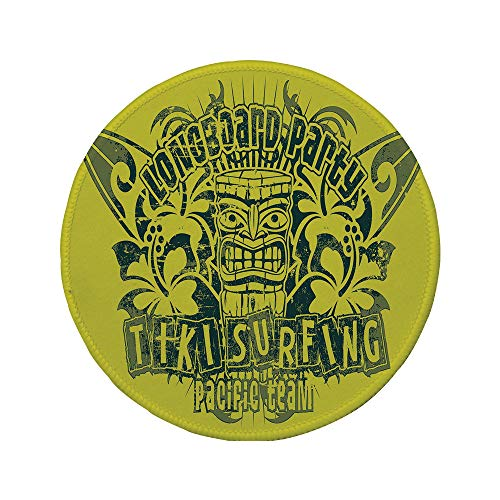 - Non-Slip Rubber Round Mouse Pad,Tiki Bar Decor,Tiki Surf Team Longboard Party Grungy Display Hibiscus Flora Art Decorative,Apple Green Dark Green,7.87