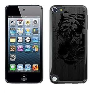 """Pulsar Snap-on Series Teléfono Carcasa Funda Case Caso para Apple iPod Touch 5 , Tigre Negro metal cepillado Street Art Graffiti"""""""