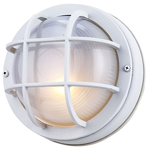 (8-Inch Round Bulkhead Wall-Mount Light in White)
