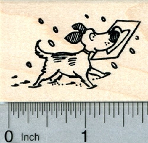 Valentines Day Dog Rubber Stamp, with Love Note