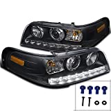 Spec-D Tuning 2LHP-VIC98JM-TM Ford Crown Victoria Crystal Black LED DRL Projector Headlights Pair