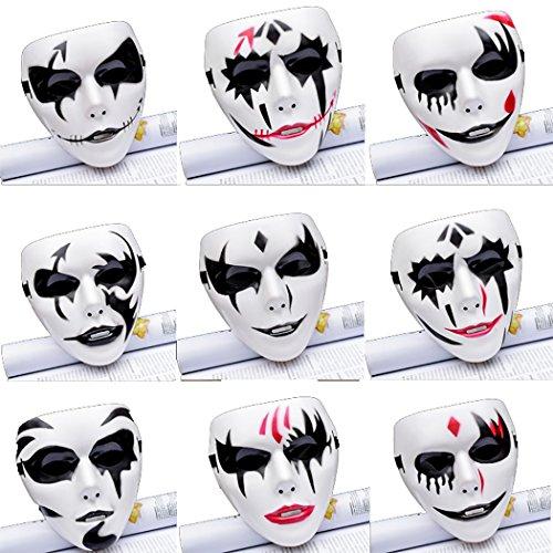 Funpa 12PCS Party Clown Mask Creative Full Face Mask Masquerade Mask Party Costume Mask ()