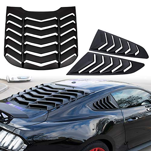 Yoursme Rear and Side Window Louvers Scoop Matte Black ABS Sun Shade Cover in GT Lambo Style Fits for Ford Mustang 2015 2016 2017 2018 - Louver Rear Ford Window Mustang