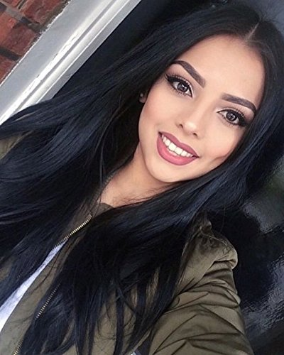 ForQueens Synthetic Long Straight Hair Wigs Black color Full Wig for Women Middle Part Heat Resistant Wigs Long Wigs for Black Women (Full Synthetic Wig)