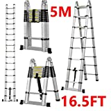ZhanGe Aluminum Telescopic Telescoping Ladder 5M/16.5Ft A Type Frame Portable Extension Folding Multi-Purpose Heavy Duty Compact Ladder with Hinges, 330lb Load Capacity Non Slip for Home Loft Office
