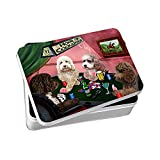 Home of Cockapoo 4 Dogs Playing Poker Photo Storage Tin