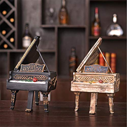 YESUN Creative Retro Piano Piggy Bank Ornament, Set of 2, American Country Style, Resin Craft, Home Decoration, Living Room, Study Room, Cafe, 14.818.224.9Cm