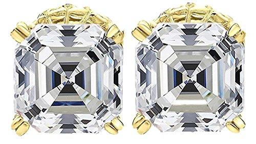 (NANA Asscher Cut Swarovski Zirconia Stud Earrings Sterling Silver & Stainless Steel Post 7mm (Yellow))