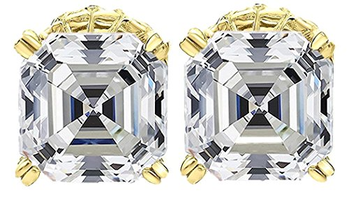 NANA Asscher Cut Swarovski Zirconia Stud Earrings Sterling Silver & Stainless Steel Post 7mm (Yellow) (Stud Asscher)