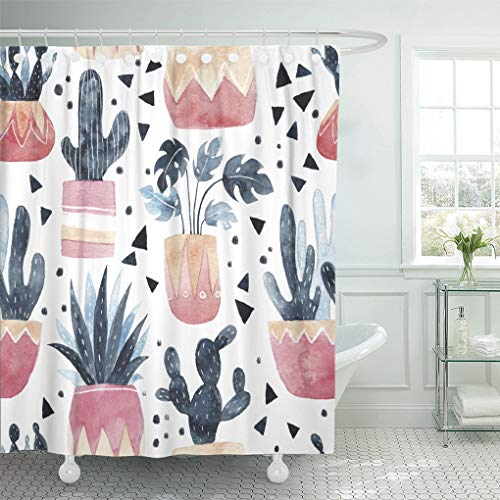 Semtomn Decorative Shower Curtain Green Watercolor Cacti Succulents and Monstera Plant Cute 72