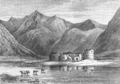SCOTLAND. Queen, Highlands. Inverlochy Castle ruins - 1873 - old print - antique print - vintage print - printed prints of Scotland - Inverlochy Castle