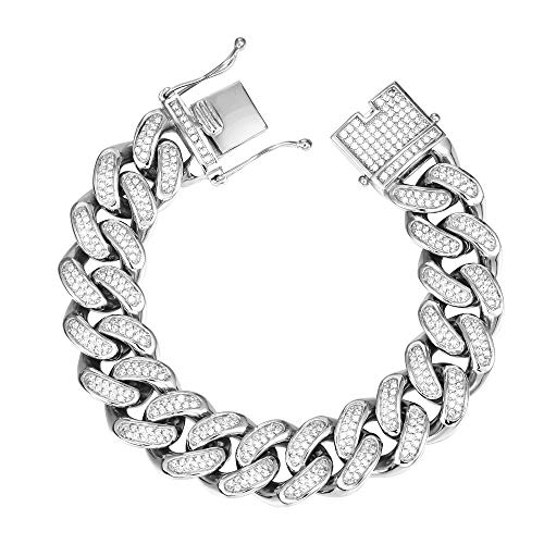 - GOLD IDEA JEWELRY VVS Lab Diamonds Fully Iced Out Miami Cuban Link Chain Stainless Steel Bracelet 20mm Hip Hop Jewelry (Stainless Steel)