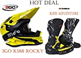 XTRM ADVENTURE MX QUAD BOOTS Kids Motorbike Off Road Boots plus 3GO K188 Junior Motorcycle Scooter Motocross Enduro MTB ATV PIT DIRTBIKE Cross Helmet, Black-Yelllow SUPER DEAL 2018 - Yellow : XL - Black/Yellow : 2/36