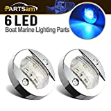 Partsam 2pcs 3'' inch Round Navigation Lights Chrome Boat Marine Clear Lens Blue 6-2835-SMD LED Transom Mount Stern Anchor Lamps 12V Flush Mount,IP67 Waterproof (Pack of 2)