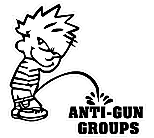 [1 Pcs Powerful Fashionable Boy Peeing Piss Anti-Gun Groups Stickers Signs Firearm Military Surveillance Size 5