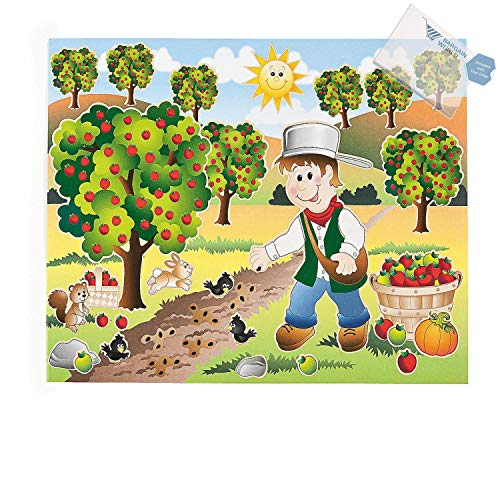 Bargain World 12 Johnny Appleseed Sticker Scenes (With Sticky Notes) ()