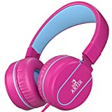 Artix Foldable On-Ear Adjustable Tangle-Free Wired Headphones, Compact Stereo Earphones with In-line Microphone and Controls for Children, Teen, Adult Head Phones for Running Sport, Travel- Pink