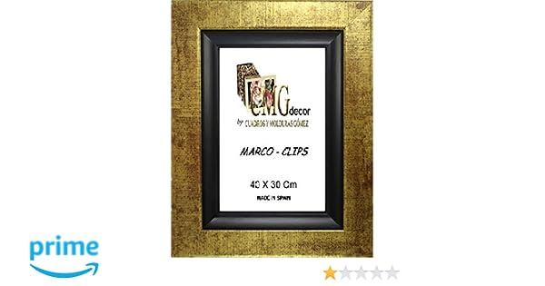 CMGdecor MC-271-40 Marcos Clips de Madera, Oro, 30 x 40 cm: Amazon ...