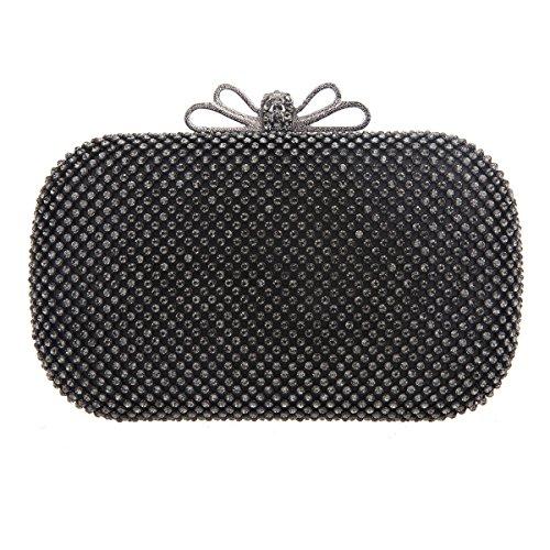 Crystal Gold Rhinestone Purse Bonjanvye Bags Girls Grey Bow Evening Clutch For Ab fxvIaq