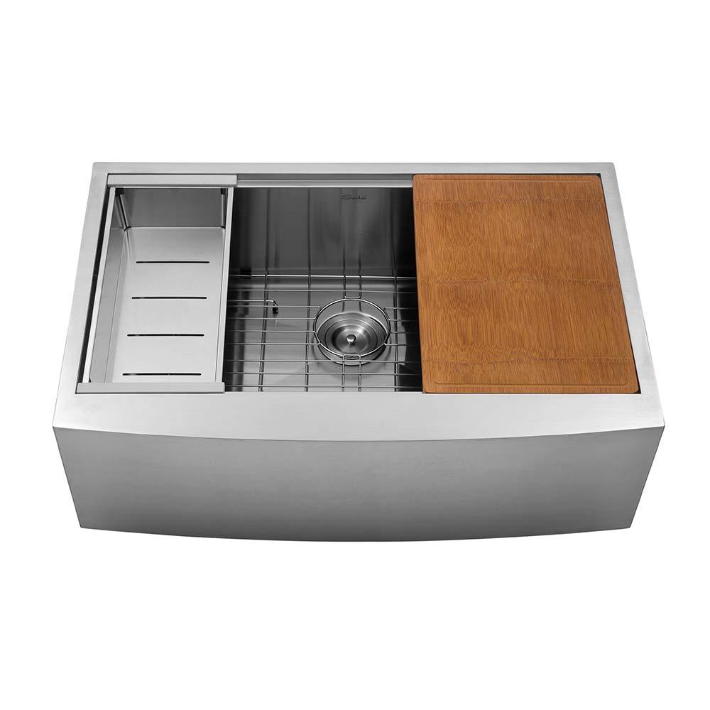 Sarlai SAS3322R1 33 Inch Ledge Farmhouse Apron Single Bowl 16 Gauge Stainless Steel Luxury Kitchen Sink