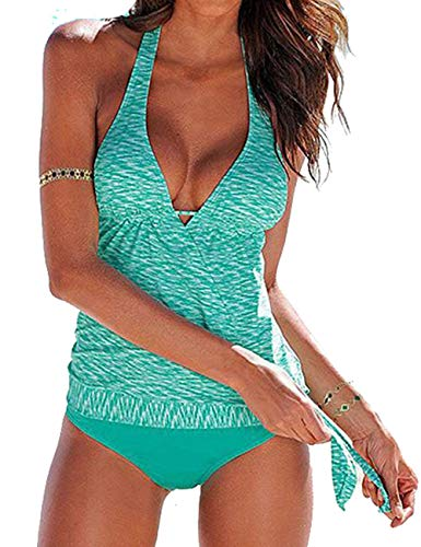 - tengweng Women Halter Tankini Tummy Control Swimwear Tank Top Retro Printed Swimsuit Two Piece Bathing Suit M Green