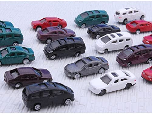 100pcs N Gauge 1:150 Scale Painted Model Cars for Parking Scenery Train Layout