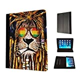 Cannibas Best Deals - 716 - Rasta Lion Weed Cannibas Hair Jamaican Design Apple ipad Pro -2015 Fashion Trend TPU Leather Flip Case Protective Purse Pouch Book Style Defender Stand Cover