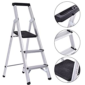 Giantex Folding 3 Step Ladder Aluminum Non-slip Work Stool Platform 330Lbs Load Capacity, Black