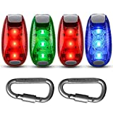 4 Pack LED Safety Light Strobe Lights for Runner Walking Bicycle  Boat Dog Collar Stroller Night Running,  Best Flashing Warning Clip on Small Reflective Light Accessories Review