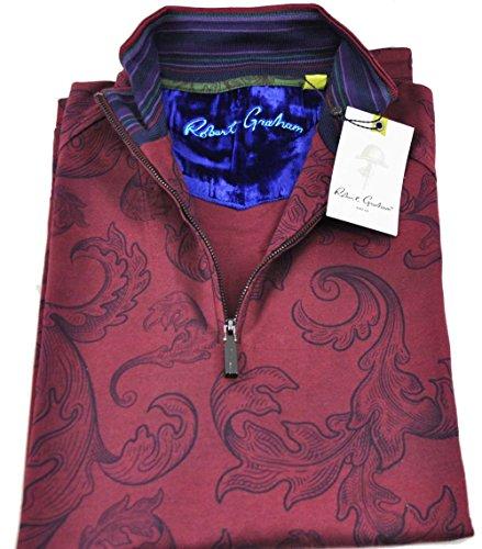 robert-graham-mens-medium-bordeaux-wonderland-ls-1-4-zip-pullover-sweater