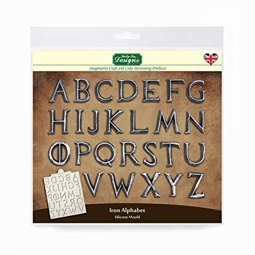 Katy Sue Iron Alphabet Silicone Mold for Cake Decorating, Crafts, Cupcakes, Sugarcraft, Cookies, Candies, Cards and Clay, Food Safe Approved, Made in The UK ()