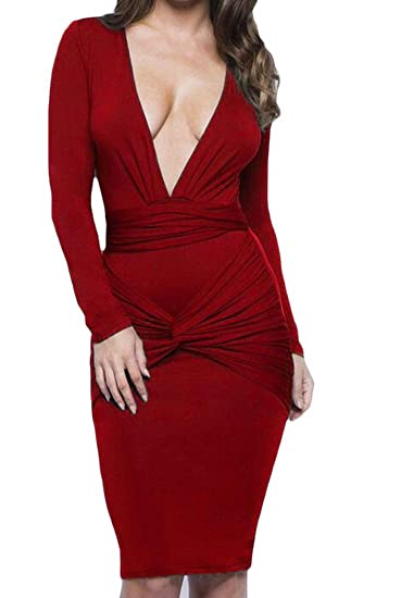 c523f395a30 Joe Wenko Women Vogue Package Hip Deep V Neck Long Sleeve Sexy Clubwear Dresses  Wine Red