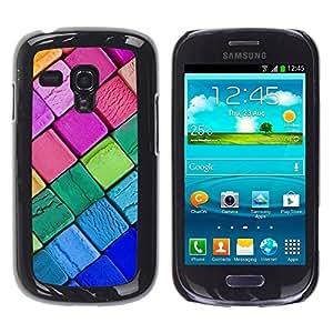 TopCaseStore / la caja del caucho duro de la cubierta de protección de la piel - Crayon Chalk Blue Pink Kids Colorful - Samsung Galaxy S3 MINI NOT REGULAR! I8190 I8190N