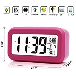 iProtect Battery Operated Small Digital Alarm Clock - Perfect for the Bedroom, Kitchen, Desk, Table, Bedside or for Travel with Extra Large Display, Snooze, Date, Temperature and Light Sensor in Pink