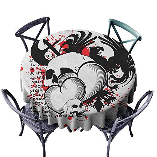 ScottDecor pad Round Tablecloth Picnic Cloth Tattoo,Conjoined Hearts with Skull Eagle Wings Symbol of Brave Love Valentines, Black White and Red Diameter 54