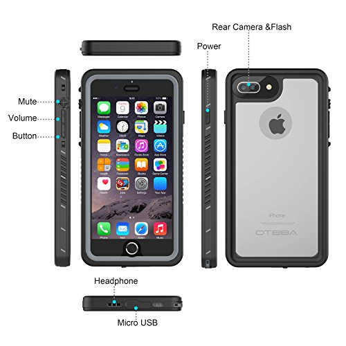 iPhone 7 Plus/8 Plus Waterproof Case, OTBBA Underwater Snowproof Dirtproof Shockproof IP68 Certified with Touch ID Full Sealed Cover Waterproof Case for iPhone 7 Plus/8 Plus-5.5in (Clear) by OTBBA (Image #3)