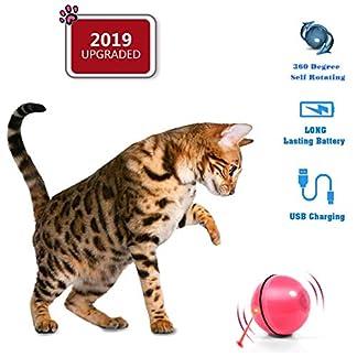 HOPLUS Katzenspielzeug Elektrisch Katzenball USB-Aufladung mit LED Licht interaktives Intelligenzspielzeug Roller Ball für Katzen, Rosa 3