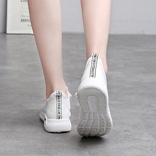 Gimnasia Zapatos Casuales para Mujer de Respirables de Deporte Suaves de Zapatos Blanco Zapatillas Zapatos Mocasines Malla Logobeing Corrientes wPaYqEx1