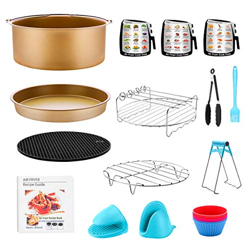 Air Fryer Accessories for GoWISE Ninja COSORI Cozyna Philips 5.3, 5.5, 5.8, 6 Qt Dishwasher Safe, Matte Gold