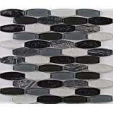 Haley Gris 11.41 In. X 12 In. X 8 mm Glass Stone Mesh-Mounted Mosaic Tile, (9.5 sq. ft., 10 pieces per case)
