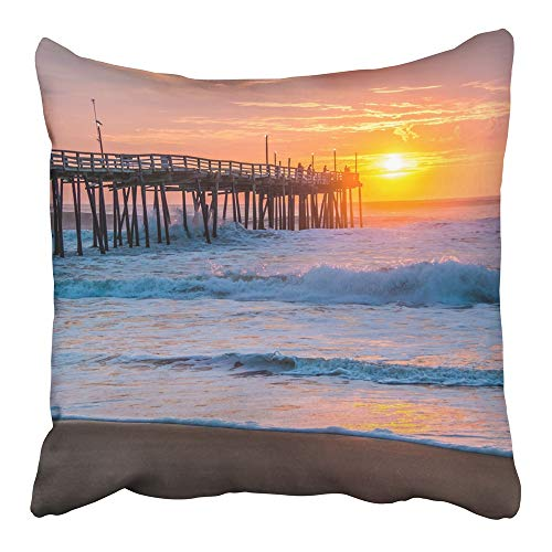Emvency Throw Pillow Cover Cases Two-Side Print Decor Design Square Set Cushion Case Covers Orange Surf Serene Sunrise Over Fishing Pier at North Carolina Outer Banks Pink 20 x 20 ()