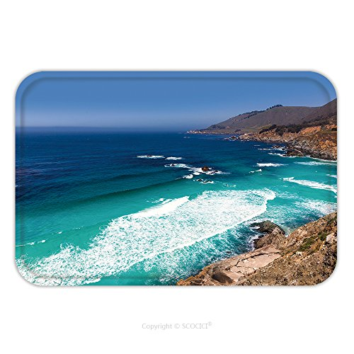 Flannel Microfiber Non-slip Rubber Backing Soft Absorbent Doormat Mat Rug Carpet California Beach Near Bixby Bridge In Big Sur In Monterey County Along State Route 1 Us_59549429 for - 9 State Route