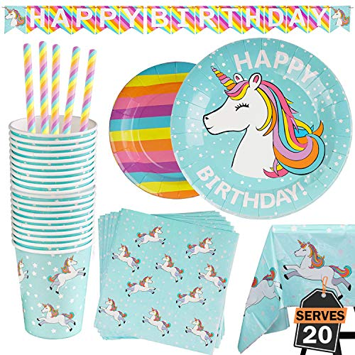 102 Piece Rainbow Unicorn Party Supplies Set Including Banner, Plates, Cups, Napkins, Straws, and Tablecloth, Serves 20]()