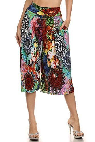 ICONOFLASH Pleated Gaucho Pants with Banded Waist (Lotus Flower, S)