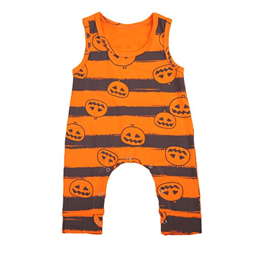 (Infant Toddler Baby Boys Girls Halloween Magic Pumpkin Romper Jumpsuit … (80)